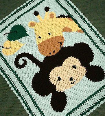 Giraffe Baby Blanket Knitting Pattern : Details about Crochet Patterns - MONKEY & GIRAFFE BABY AFGHAN PATTERN B...
