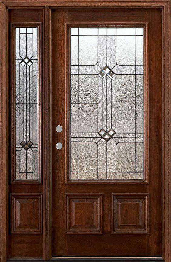 Front doors wood doors and entry doors on pinterest for Exterior front door with one sidelight
