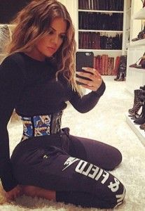 Khloe Kardashian in her waist trainer