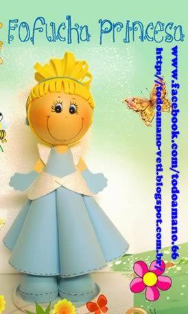 Boneca em EVA passo a passo fofucha princesa EVA 3D aprenda e faça para lembrancinha de aniversário infantil, para topo de bolo EVA, presentear e decorar