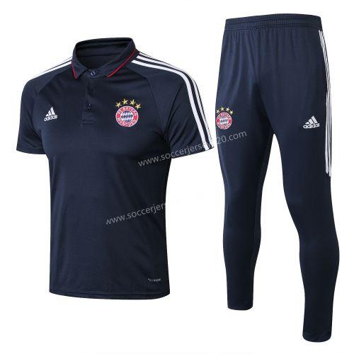 2018 19 Bayern Munchen Royal Blue Turndown Collar Thailand Polo Uniform Sport Outfits Polo Shirt Shirt Sale