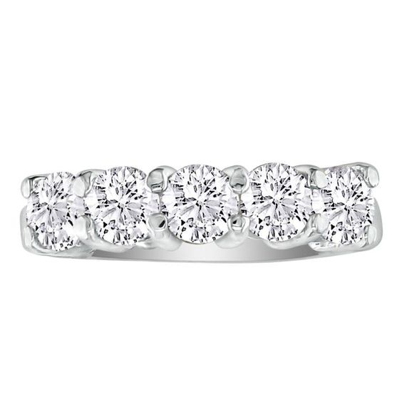 1/2ct Five Diamond Band in White Gold