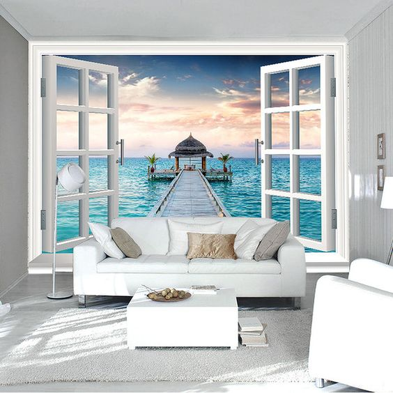 3d window wall mural ocean photo wallpaper personalized for Designer wallpaper mural
