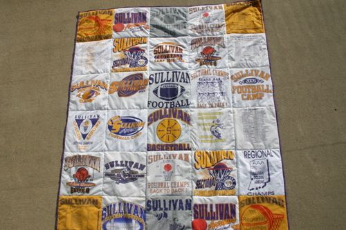 quilt made up of old t-shirts