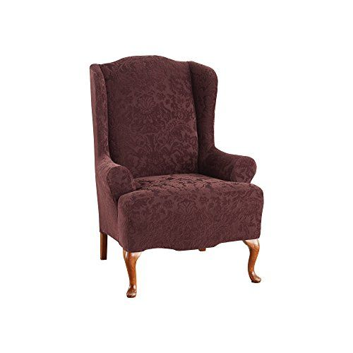 Sure Fit Stretch Jacquard Damask Wing Chair Slipcover Https Www Amazon Com Dp B00gr Wingback Chair Slipcovers Sure Fit