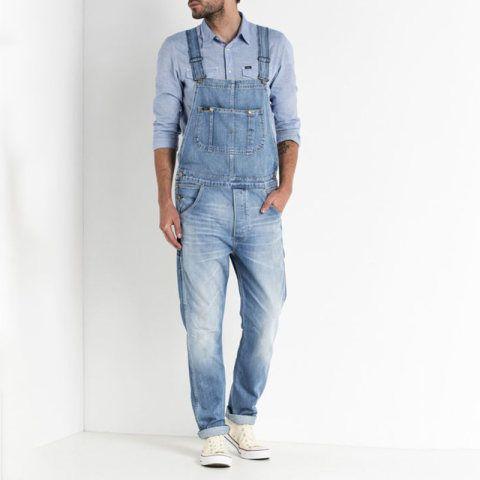 Mens Retro Denim Slim Long Sleeve Jumpsuits Overalls Skinny Jeans Trousers Coats