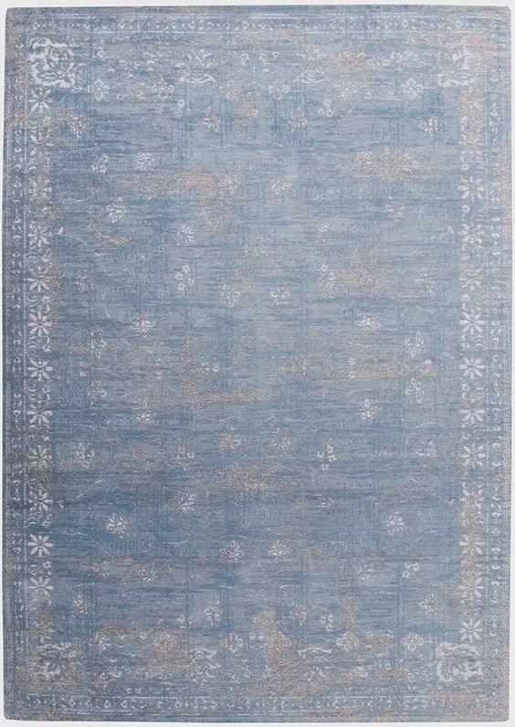 Vintage-Teppich blau beige rose