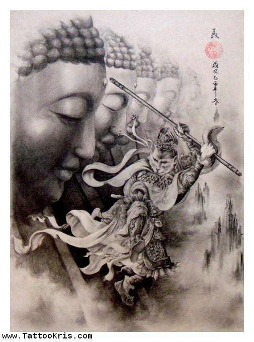 grey ink asian buddha tattoo design tattoo s and asian design pinterest grey buddha. Black Bedroom Furniture Sets. Home Design Ideas