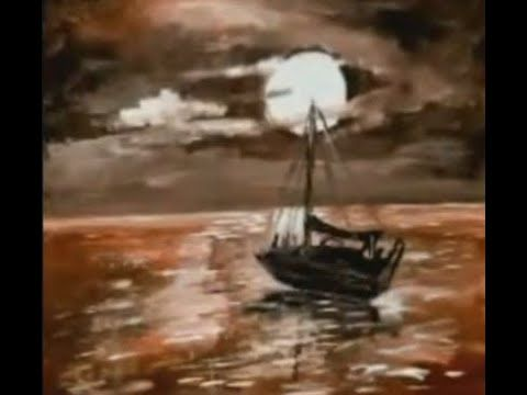 Gomx Art رسم قارب بحري وقت الشروق الوان اكريليك Drawing B Beautiful Nature Sunrise Colors Nature