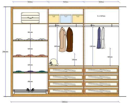 Distribuci n de closet home pinterest organizaci n - Distribuciones de armarios empotrados ...
