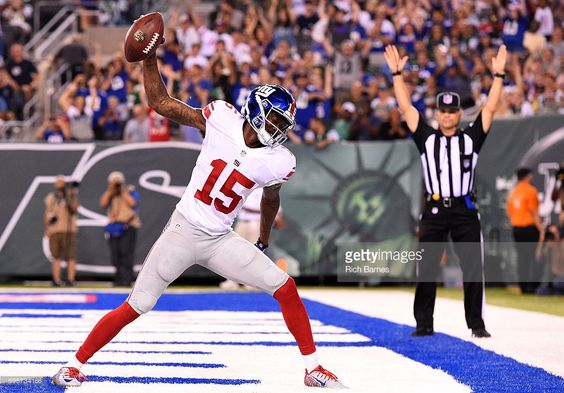 Tavarres King #15 of the New York Giants celebrates a touchdown against the New York Jets during the third quarter at MetLife Stadium on August 27, 2016 in East Rutherford, New Jersey. The Giants defeated the Jets 21-20.