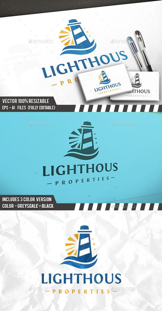 Lighthouse Sun Logo Template PSD, Vector EPS, AI Illustrator