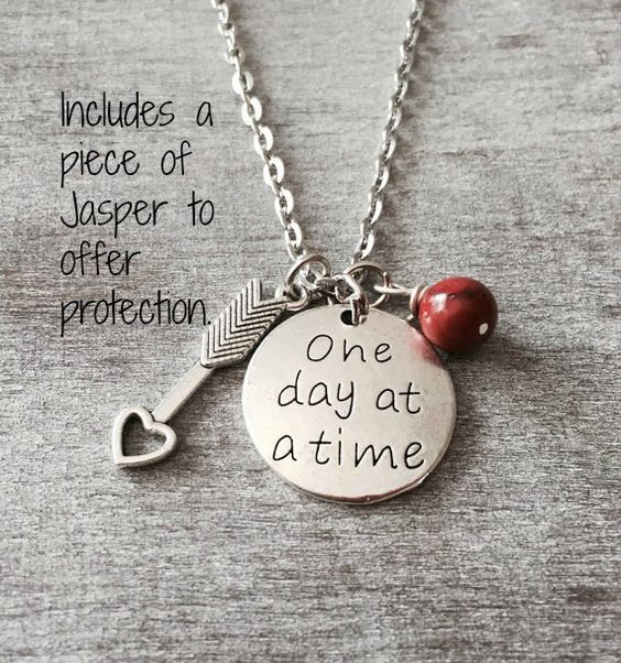 One Day At A Time Sobriety Gift Sobriety Necklace AA by SAjolie