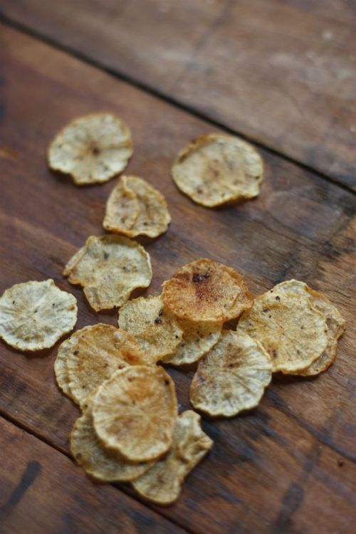 Diakon radish chips! I plan to make these in a few but in a long spiral :)