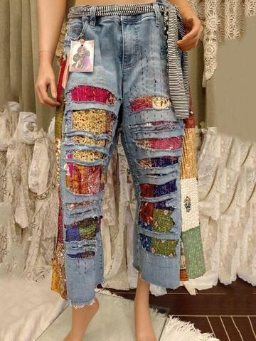Model: Slim Material: Denim Length: Mid-Calf Trousers Shape: Wide Legs Waist Line: Mid Waist Closure...