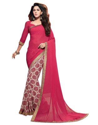 Fantique Jewels Printed Lace Work Saree Sarees