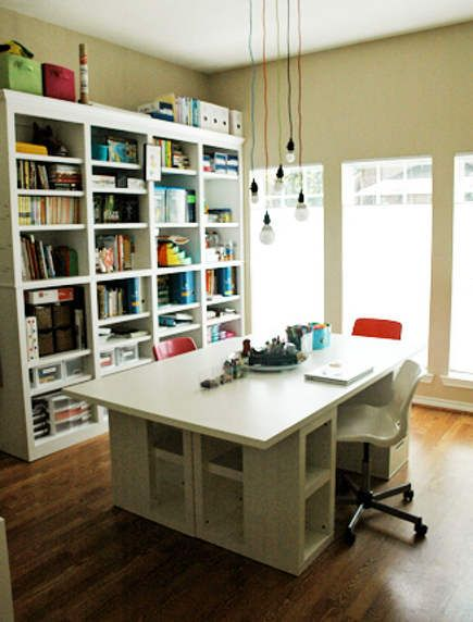 Large Work Table Assembled From Ikea Tops Drawers And Shelving Units Storage Organization