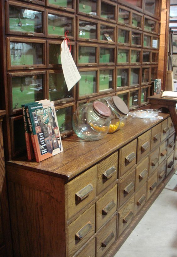 Eva Lee's Country Accents Antiques and this impressive general store storage unit of solid Oak.: