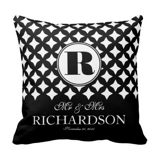 Chic Diamond Pattern Couple Mr and Mrs Pillow