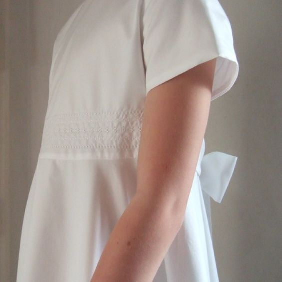 Simple white cotton communion dresses