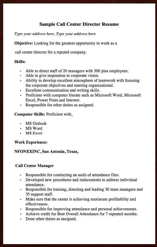 Here goes another Free resume Example of Call Center Director - objective for a cna resume