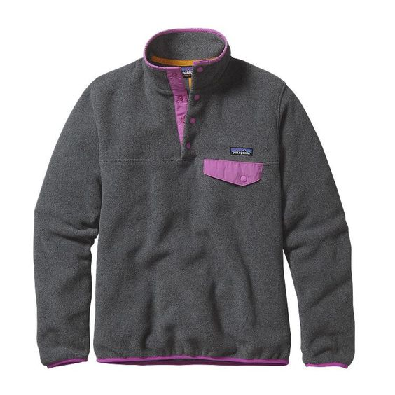 Patagonia Women's Lightweight Synchilla Snap-T Fleece Pullover 25455 Nickel with Mock Purple