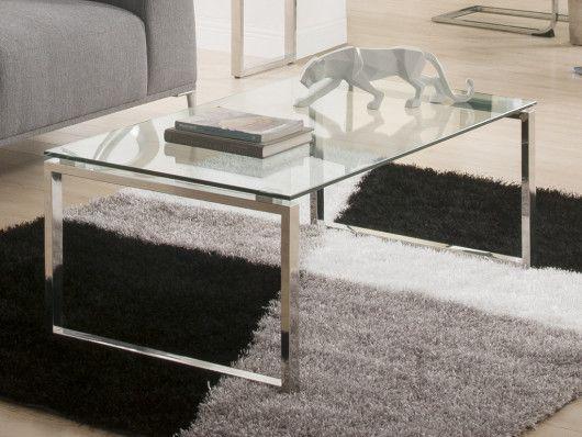 Table Basse Freya Verre Trempe Metal Chrome Table Basse Verre Table Basse Style Table Basse