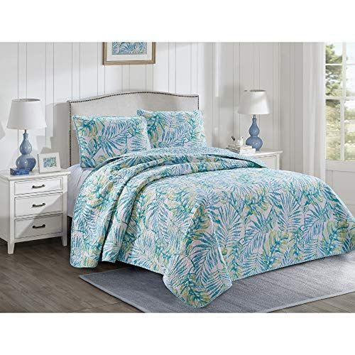 Tropical Leaves Quilt Set Full Queen Size Green Blue Island Wild Plants Floral Print 3 Piece Bed Sets Hawaiian Green Quilt Sets Teal Bedding Quilt Sets Tropical leaf palm print, showing various tropical plants together in one poster. green quilt sets teal bedding
