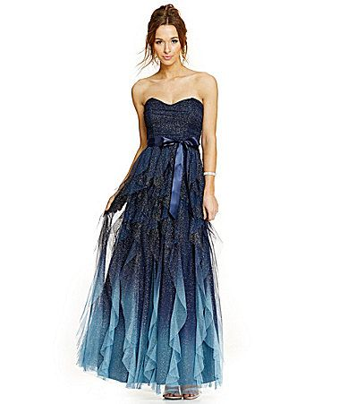 Teeze Me Strapless Ombre Glitter Corkscrew Gown Dillards  The ...