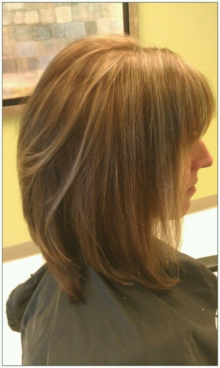 mocha caramel color with honey high lights and long bob