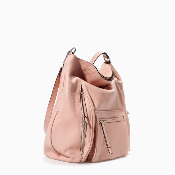 ZARA - NEW THIS WEEK - LEATHER BUCKET BAG WITH FRONT POCKET