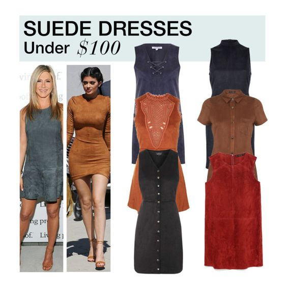 """Under $100: Suede Dress"" by polyvore-editorial ❤ liked on Polyvore featuring Glamorous, Topshop, River Island, Miss Selfridge, Zara, under100 and suededress"
