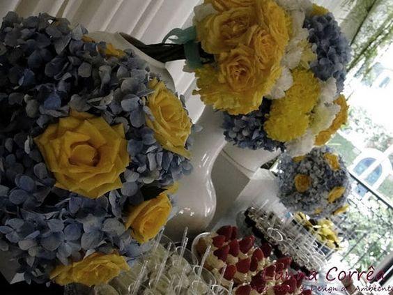Decoração de casamento com azul e amarelo