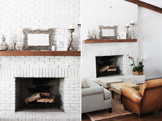 White brick fireplace wood block mantle i did this in for Blocked fireplace ideas