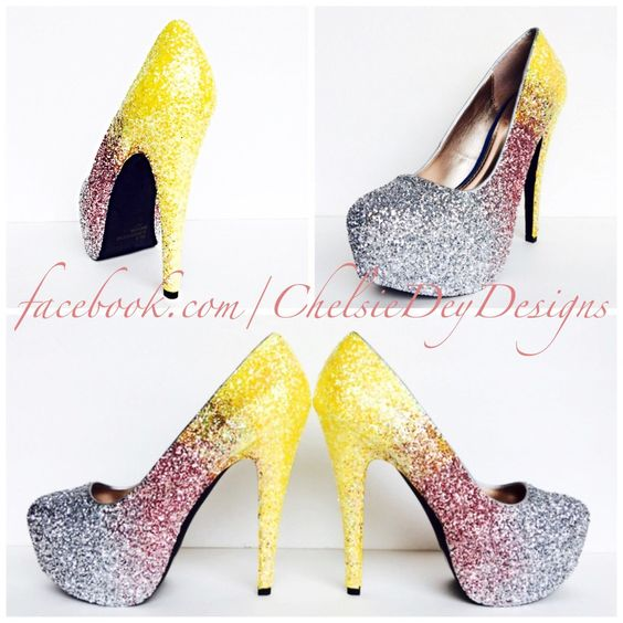 Glitter High Heels - Pink Silver Yellow Pumps - Ombre Fade