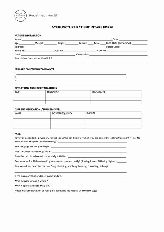 Acupuncture Intake Form Template Beautiful Acupuncture Intake Form Redefined Health Printable Pdf Templates Acupuncture Health History Form