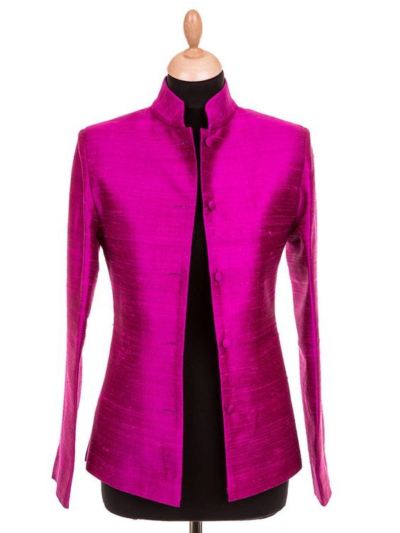 Ladies short Nehru jacket in Wild Orchid. This funky fuchsia pink ...