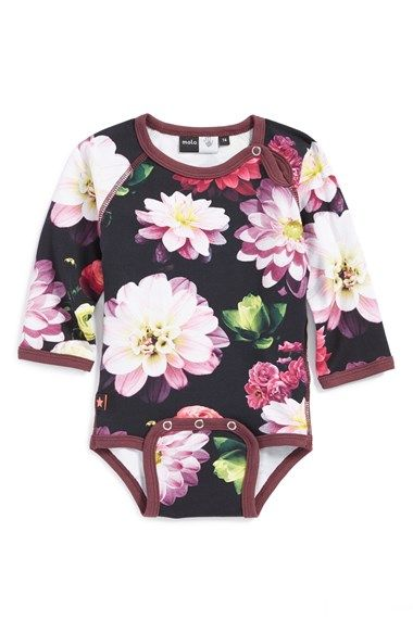 Free shipping and returns on Molo 'Fernanda' Cotton Blend Print Bodysuit (Baby Girls) at Nordstrom.com. Photorealistic flowers bloom atop a stretchy cotton-blend bodysuit that lets your little rosebud move with ease.: