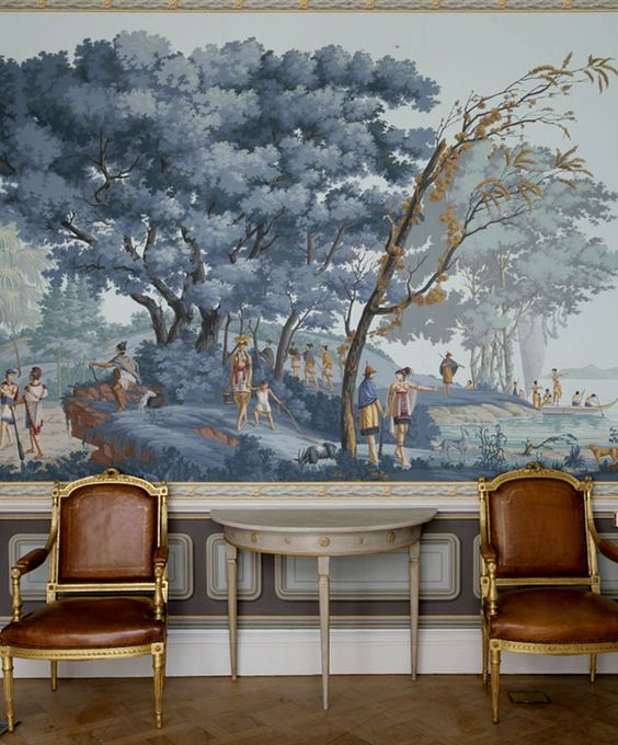Chinese landscape murals and staircases on pinterest for Chinoiserie mural wallpaper
