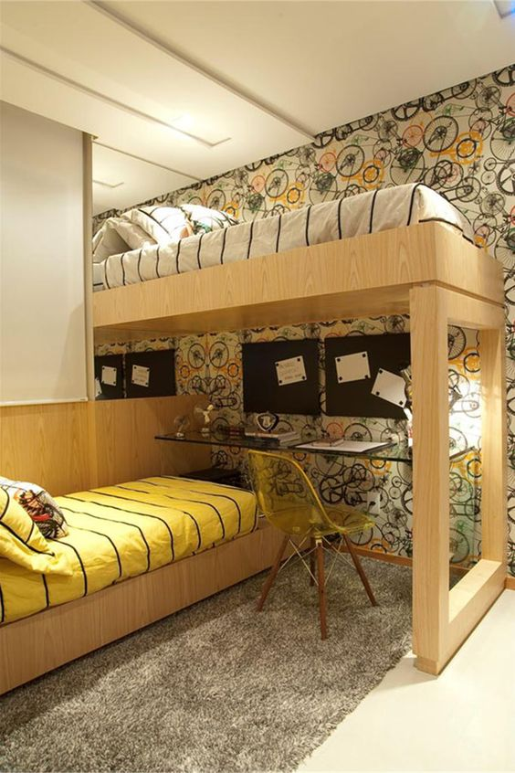 quarto de menino / boys / bike / bedroom / twins / apartamento decorado / home decor / bohrer arquitetura / interior design: