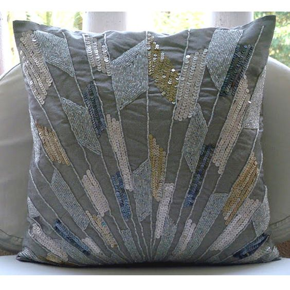 Handmade Silver Decorative Pillow Cover, Geometric Sequins & Beaded Glitter Pillows Cover Square ...