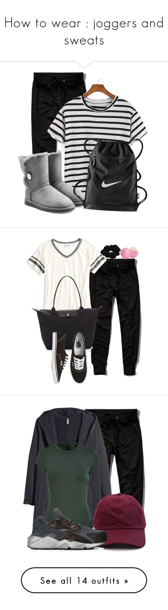 """""""How to wear : joggers and sweats"""" by maddophelia ❤ liked on Polyvore featuring Abercrombie & Fitch, UGG Australia, NIKE, women's clothing, women, female, woman, misses, juniors and American Eagle Outfitters"""