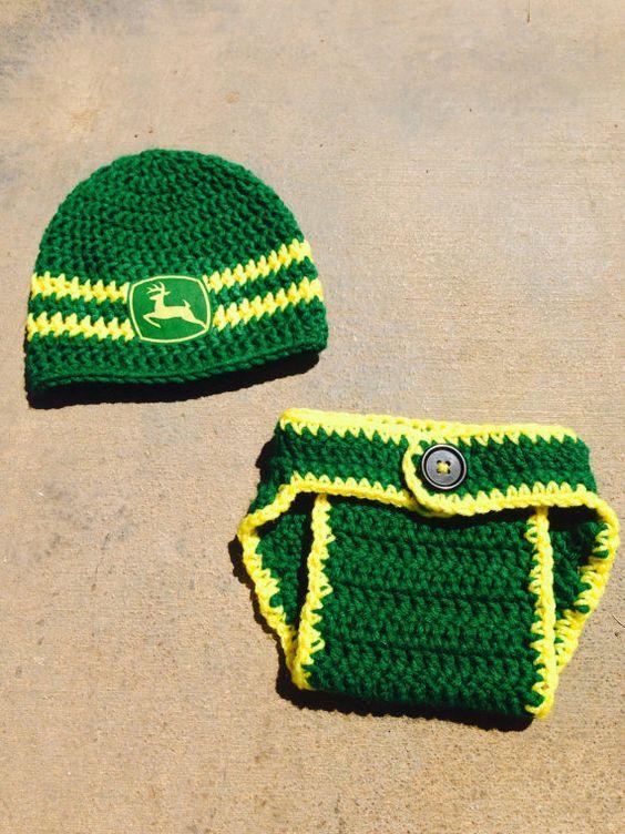Deere Infant Hat Crochet Pattern : Crochet John Deere Hat and Diaper Cover Set by ...