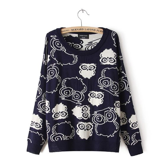 lovely-shoes:  New arrive owl pattern easy leisure pullovers sweaters
