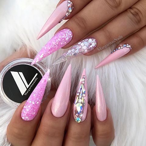 Pin By Mariposa Mayaguez On Long Stiletto Nails Pink Stiletto