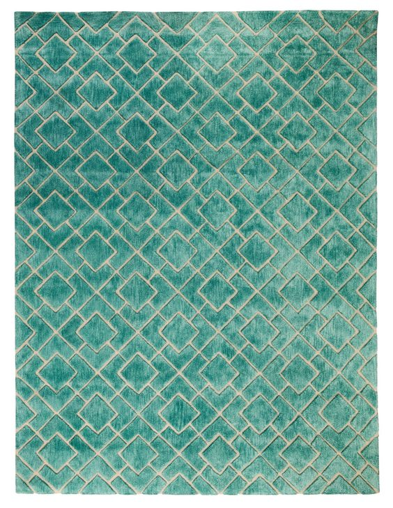 Karolinka Hand-Tufted Royal Turquoise Area Rug