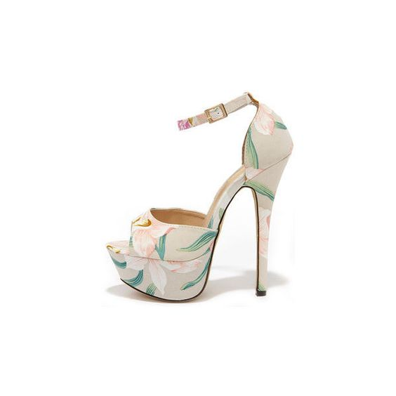 High Altitude Beige Floral Platform Heels (€34) ❤ liked on Polyvore featuring shoes, peep toe platform shoes, floral shoes, high heel platform shoes, synthetic leather shoes and vegan shoes