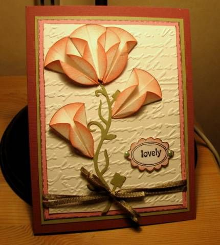 Folded circle flowers, cool idea with the sponging
