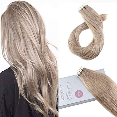 New Moresoo 24 Inch Tape Real Hair Blonde Tape Extensions 20pcs
