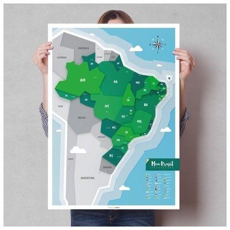 Pôster Mapa do Brasil A1 + Adesivos (Pins + Ícones Turísticos)